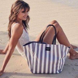 NWT Victoria's secret gray and white striped tote